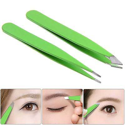 2Pcs Proffesional Precision Stainless Steel Slant Hair Removal Eyebrow Tweezer