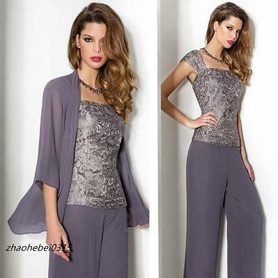 New Mother Of Bride/Groom Outfits Free Jacket Trousers Formal Dress 2017
