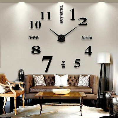 Living Room Large Art Design 3D DIY Wall Clock Mirror Decoration SALE4#