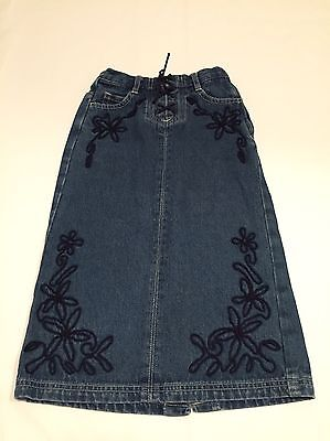 Next Denim Floral Embroidered Long  Skirt Girls Age 5 Years