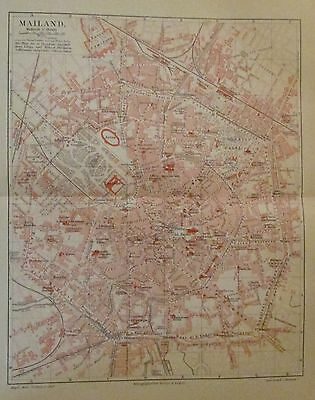 1896 MAILAND ITALIEN alte Landkarte Stadtplan antique city map Litho Milano