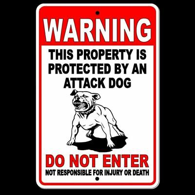 Warning Sign Attack Dog On Duty Beware Of Dog security METAL pitbull best SBD020