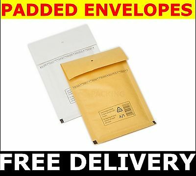 1000 PADDED  BUBBLE ENVELOPES  size A (A/000) - 100x165 mm GOLD or WHITE