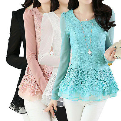 Elegant Ladies Floral Chiffon Tops Long Sleeve Lace Crochet Casual Blouse New