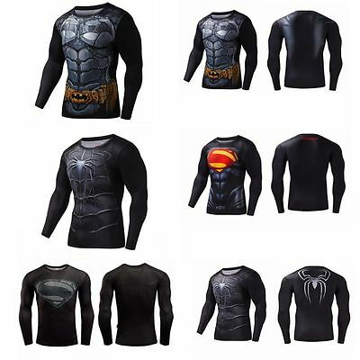 Marvel Superhero Men's Compression Top T-shirts Long Sleeve Tight Cycling Jersey