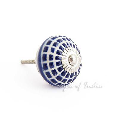 BLUE INDIGO CERAMIC CABINET DOOR DRESSER CUPBOARD KNOBS Pull Decorative Colorful