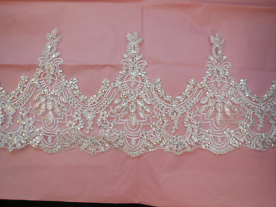 Light Ivory Embroidered beads lace trim Bridal Wedding tulle Veil trim Per Yard
