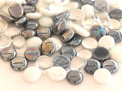 100 x Glass Pebbles / Nuggets / Stones / Gems - Silver Frost