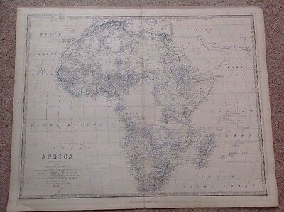 Large Original Old Antique Africa Map By Keith Johnston Circa 1880