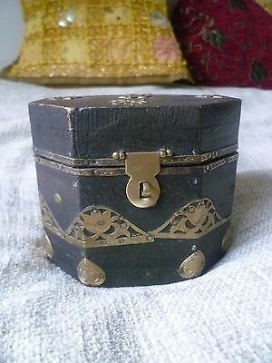 vintage handmade middle eastern wood & brass pin hammered box patina