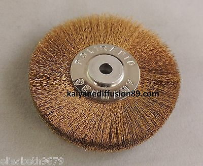 brosse ø 50 mm fibre laiton ø 0.08 mm à monter sur queue de cochon
