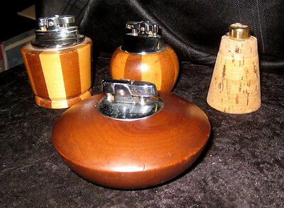 4 Vintage Wooden Table Lighters. 'Ronson', 'Feudor'.  1960's / 70's.
