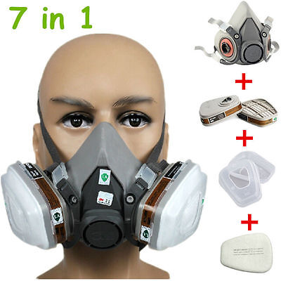 UK 3M 6200 Gas Dust Mask Half Face Spray Painting Filter Respirator Safety MRO