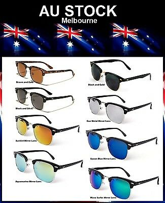Surfer Beach Summer Mirror Lens Club Master Style Sunglasses FREE POST AUSTRALIA
