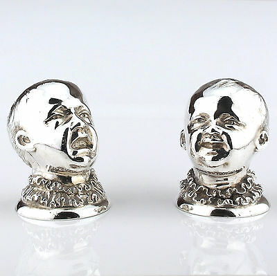 Rare Pair Antique Novelty Solid Sterling Silver Pepperettes, James Hennell, 1881