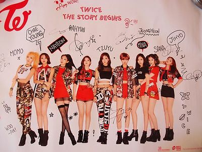 TWICE OFFICIAL FIRST Mini Album THAILAND VER The Story begins AUTOGRAPH  POSTER