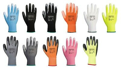 12 x Portwest A120 Colourful Nylon PU Palm Coated Work Wear Gardening Gloves