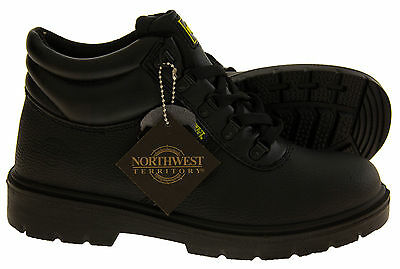Boys Leather Rugged Tough Grippy Lace Up Smart Work Garage Shoes Boots Sizes 3-6