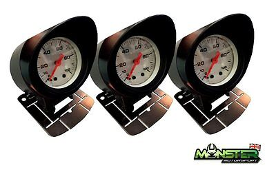 3 x 52mm Car Gauge Holders, Gauge Pods w/ Visors Triple Pack for Boost, Oil Temp