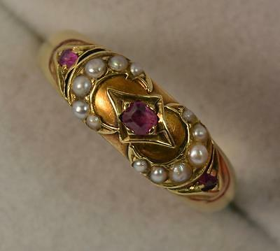 1886 Victorian 15ct Gold Ruby and Pearl Cluster Ring d0635