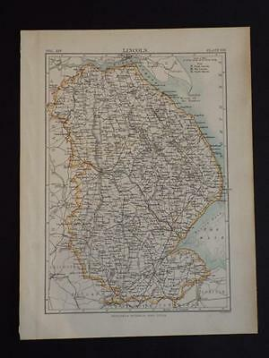 Vintage County Map Of Lincolnshire England- Antique Print C1910