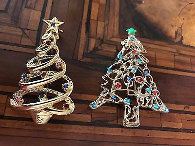 Vintage Couple Christmas Tree Brooches  Coppia Spille Albero di Natale