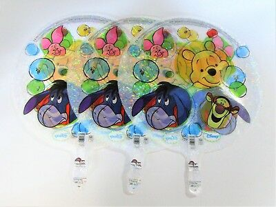 "Pack of 3 Disney Winnie The Pooh Clear Holographic 18"" Helium Party Balloons"