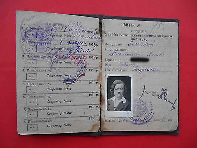 USSR 1931 Woman KHARKIV, student document ID with Real photo