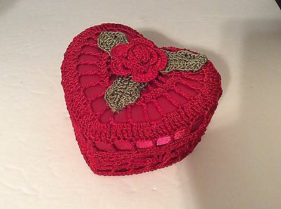 Hand crocheted and satin-like Red heart shaped gift box, trinket box