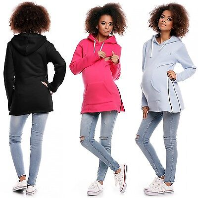 Zeta Ville - Women's Maternity Nursing Hooded Sweatshirt - Zip Cut-outs - 356c
