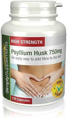 Psyllium Husk 750mg 120 Capsules Healthy Digestion, Weight Loss & Colon Cleanse