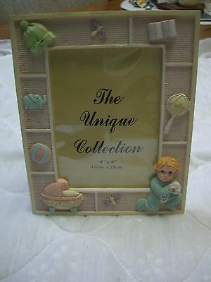"""Unique Collection Resin Pastel Nursery Photo Frame (7"""" Tall x 6"""" Wide)"""