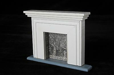 Dollhouse Miniature White Mantel Fireplace with Metal Decorative Fireplace Liner