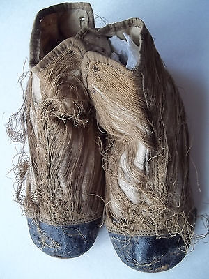 Unique Antique Baby Children's Shoes Boots Hand made + Stitched- top shredded