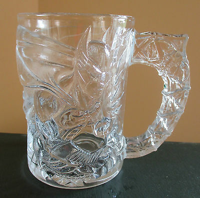 """1995 McDonald's Collectible """"Batman Forever """" Clear Glass Mug/Cup 4"""" Tall"""