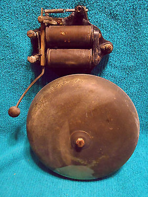 "VTG Antique Faraday Alarm Bell Fire Factory Gas Station Large 10"" Brass Bell"