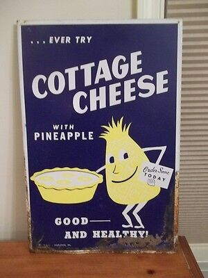 Vintage Cottage Cheese With Pineapple Metal Advertising Sign Hazleton Pa Rusty