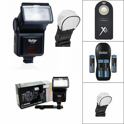 Pro Vivitar Flash + Remote + Charger + Batteries For Nikon D3400 Dslr Fast Ship