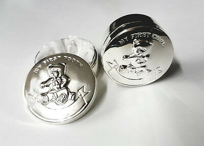 Godparents Christening Keepsake Baby First Tooth and Curl Box Gift Set Silver