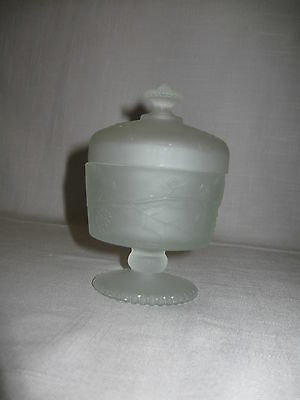 Pedestal Satin Frosted Candy Dish Compote Grapes & Leaf Design