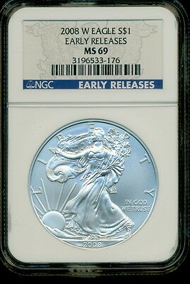 2008-W American Silver Eagle $1 Early Releases NGC MS69