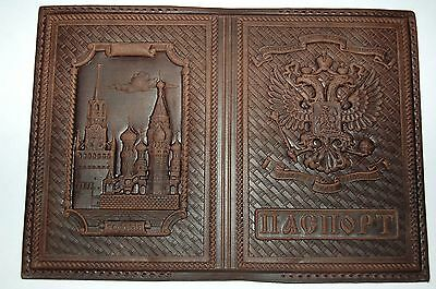 Cover genuine leather passport Kremlin Russia St. Basil's Cathedral 90 Psalm