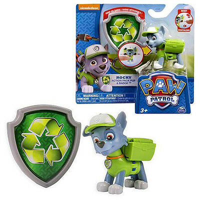 Paw Patrol Action Pack Pup & Badge Shield Dog Backpack Projectile Toy Rocky fb44