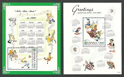 Guyana 1991 Disney Christmas Cards Penguins Parrots Whales Set Of 8 M/sheets Mnh