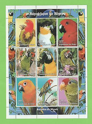 Republic of Niger 1998 Parrots /Animals of the World miniature sheet MNH