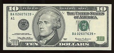 $10 1999 Federal Reserve Star Note Boston