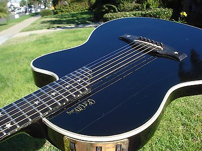 Gibson Chet Atkins SST Gloss Black Acoustic Electric Star Inlays - Ebony Board