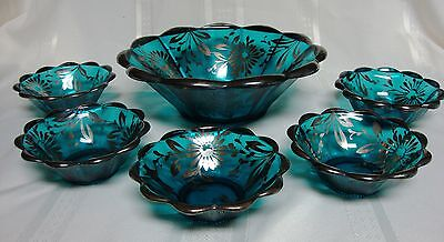 Antique Northwood Glass Berry Bowl Set Teal Blue w/ Silver Overlay Floral Daisy