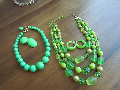 West Germany necklace clip earrings Vintage Glass Lucite Plastic Signed Lime Lot