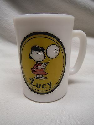 Peanuts Lucy Milk Glass Coffee Mug United Features 1969